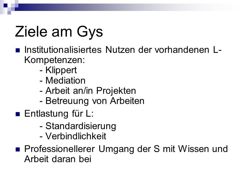 Ziele am Gys Institutionalisiertes Nutzen der vorhandenen L- Kompetenzen: - Klippert - Mediation - Arbeit an/in Projekten - Betreuung von Arbeiten Ent