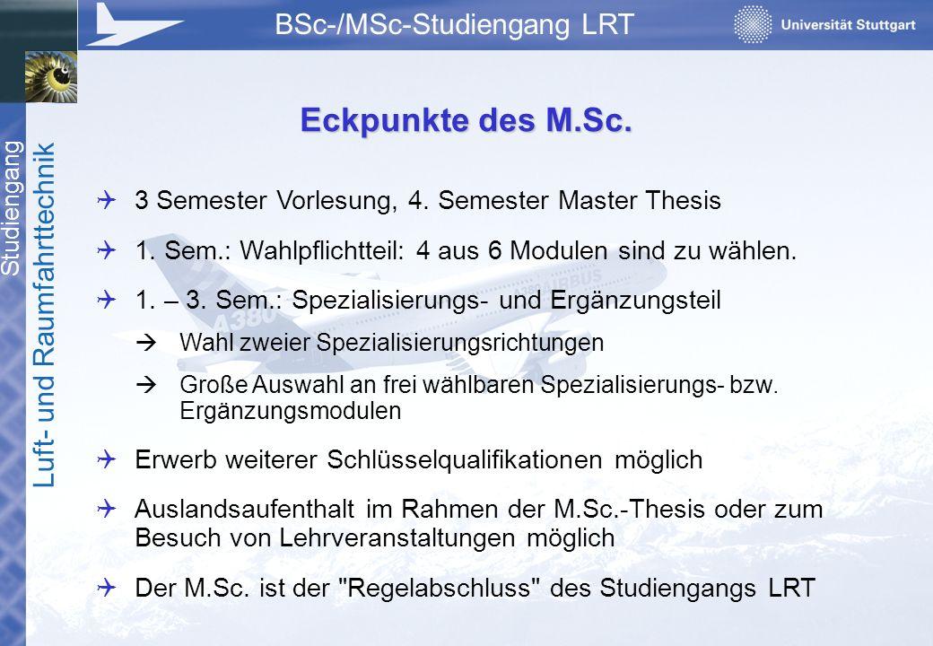 Studiengang Luft- und Raumfahrttechnik BSc-/MSc-Studiengang LRT  3 Semester Vorlesung, 4. Semester Master Thesis  1. Sem.: Wahlpflichtteil: 4 aus 6