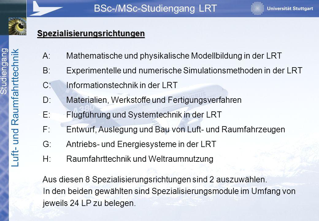 Studiengang Luft- und Raumfahrttechnik BSc-/MSc-Studiengang LRT A:Mathematische und physikalische Modellbildung in der LRT B:Experimentelle und numeri