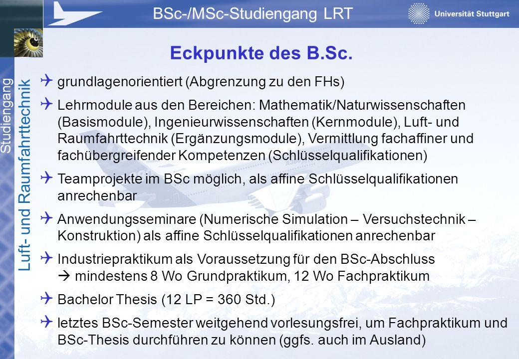 Studiengang Luft- und Raumfahrttechnik BSc-/MSc-Studiengang LRT  grundlagenorientiert (Abgrenzung zu den FHs)  Lehrmodule aus den Bereichen: Mathema