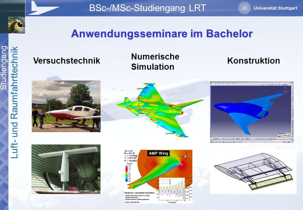 Studiengang Luft- und Raumfahrttechnik BSc-/MSc-Studiengang LRT Anwendungsseminare im Bachelor Versuchstechnik Numerische Simulation Konstruktion