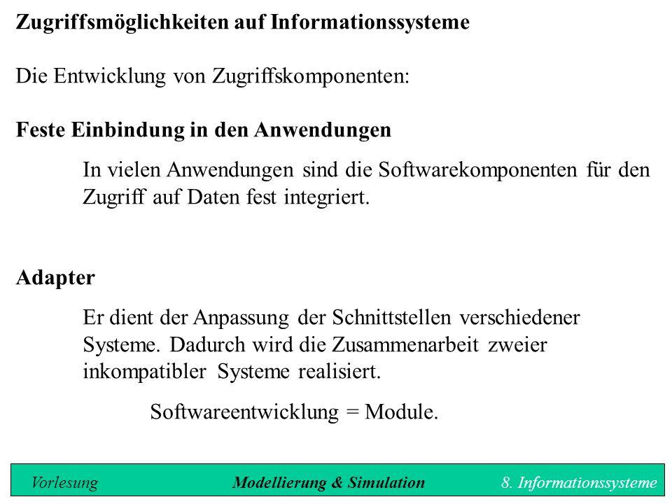 Zugriffsmöglichkeiten auf Informationssysteme Die Entwicklung von Zugriffskomponenten: Feste Einbindung in den Anwendungen In vielen Anwendungen sind die Softwarekomponenten für den Zugriff auf Daten fest integriert.
