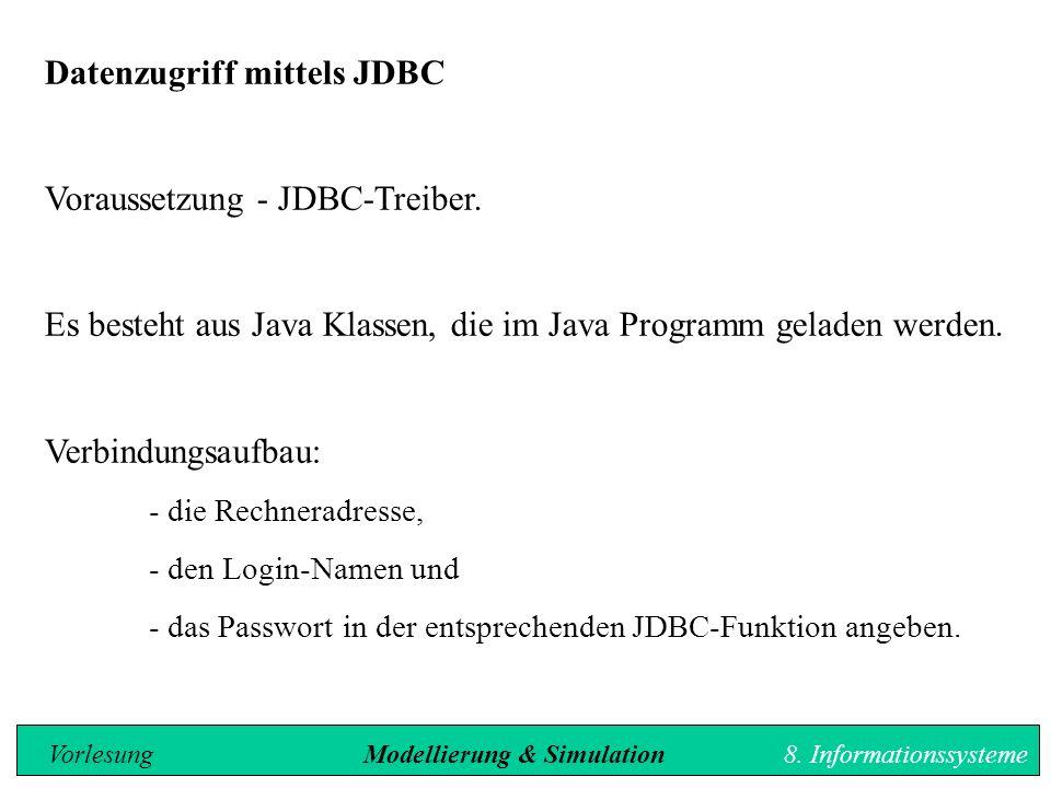 Datenzugriff mittels JDBC Voraussetzung - JDBC-Treiber.