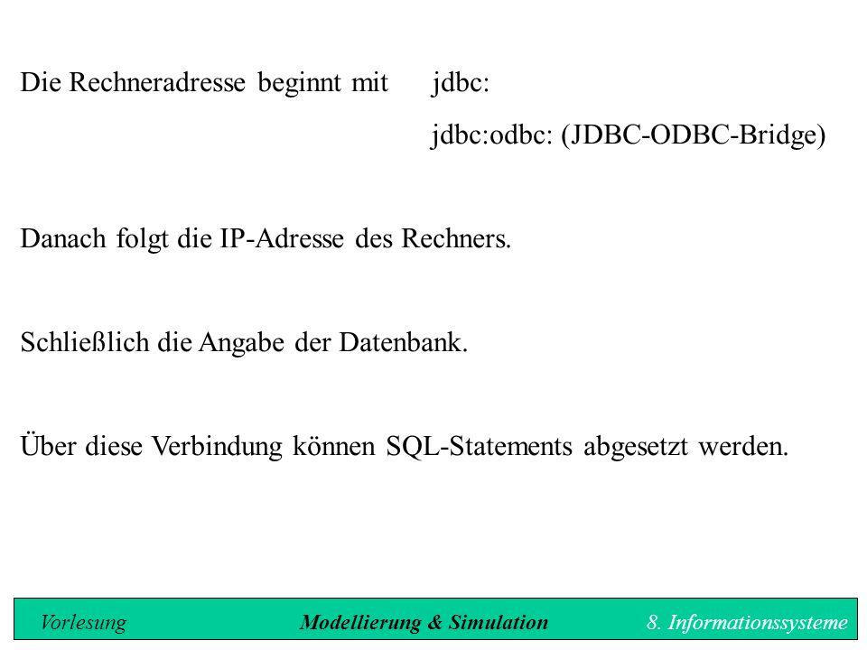 Die Rechneradresse beginnt mit jdbc: jdbc:odbc: (JDBC-ODBC-Bridge) Danach folgt die IP-Adresse des Rechners.