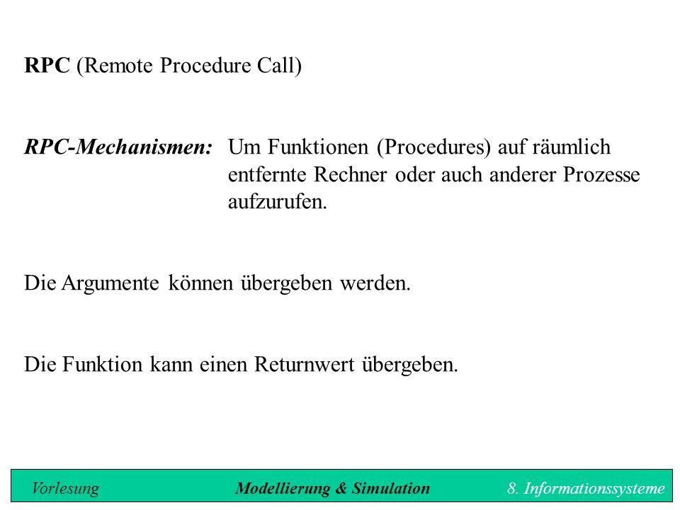 RPC (Remote Procedure Call) RPC-Mechanismen: Um Funktionen (Procedures) auf räumlich entfernte Rechner oder auch anderer Prozesse aufzurufen.
