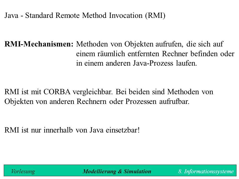Java - Standard Remote Method Invocation (RMI) RMI-Mechanismen: Methoden von Objekten aufrufen, die sich auf einem räumlich entfernten Rechner befinden oder in einem anderen Java-Prozess laufen.