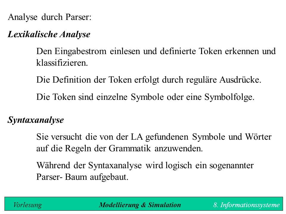 Analyse durch Parser: Lexikalische Analyse Den Eingabestrom einlesen und definierte Token erkennen und klassifizieren.