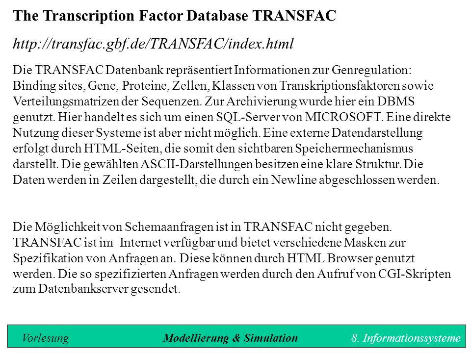 The Transcription Factor Database TRANSFAC http://transfac.gbf.de/TRANSFAC/index.html Die TRANSFAC Datenbank repräsentiert Informationen zur Genregulation: Binding sites, Gene, Proteine, Zellen, Klassen von Transkriptionsfaktoren sowie Verteilungsmatrizen der Sequenzen.