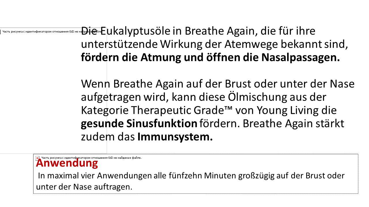 Die Eukalyptusöle in Breathe Again, die für ihre unterstützende Wirkung der Atemwege bekannt sind, fördern die Atmung und öffnen die Nasalpassagen. We