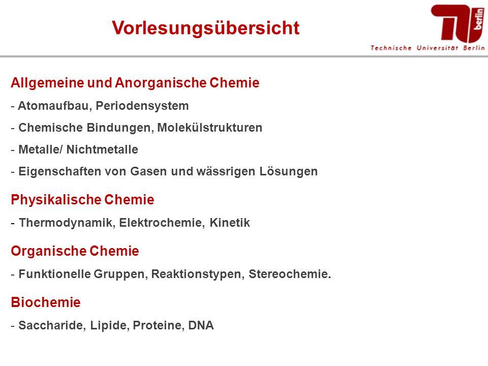 Vorlesungsübersicht Allgemeine und Anorganische Chemie - Atomaufbau, Periodensystem - Chemische Bindungen, Molekülstrukturen - Metalle/ Nichtmetalle -