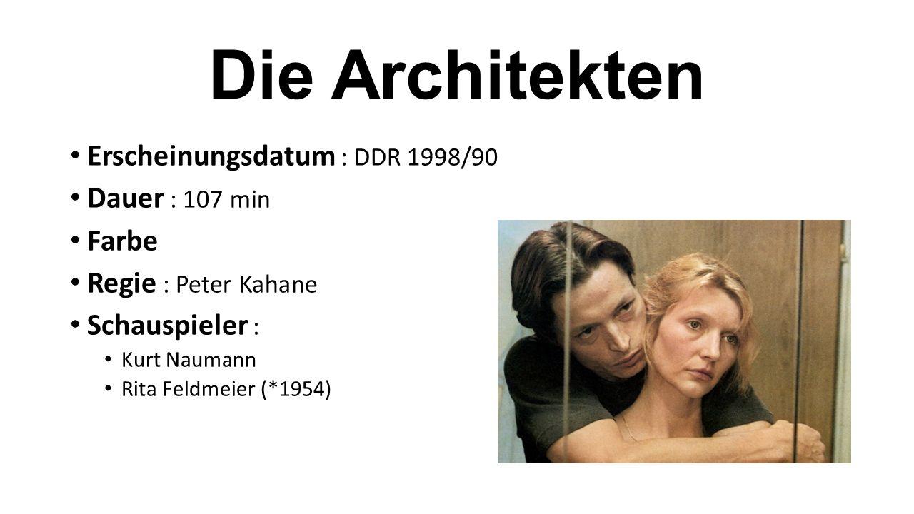 Erscheinungsdatum : DDR 1998/90 Dauer : 107 min Farbe Regie : Peter Kahane Schauspieler : Kurt Naumann Rita Feldmeier (*1954)