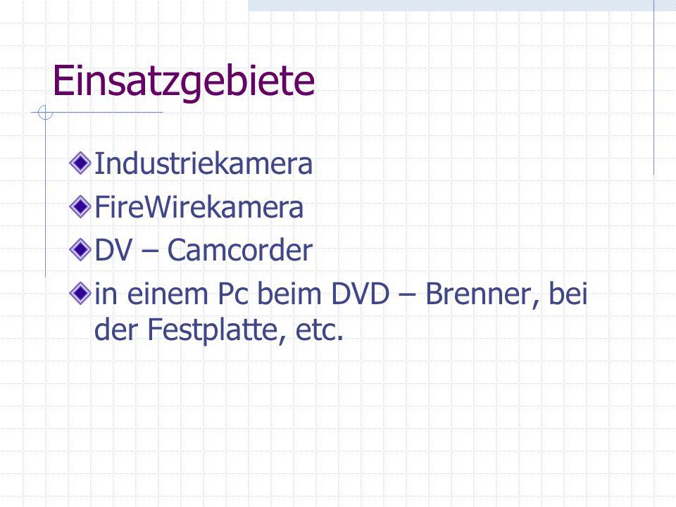 Einsatzgebiete Industriekamera FireWirekamera DV – Camcorder in einem Pc beim DVD – Brenner, bei der Festplatte, etc.