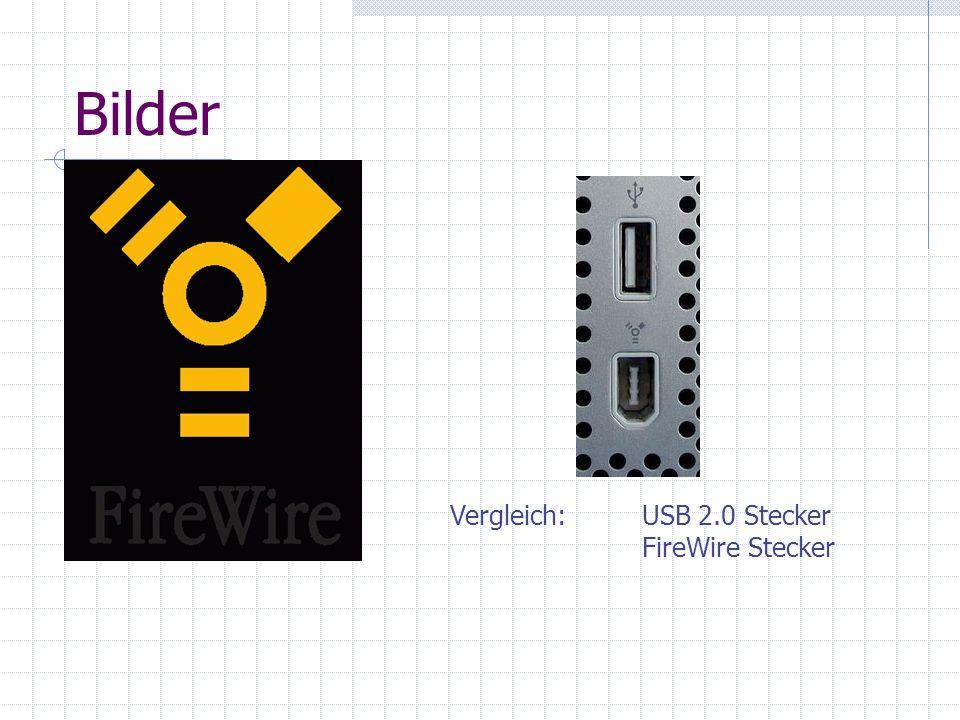 Bilder Vergleich: USB 2.0 Stecker FireWire Stecker