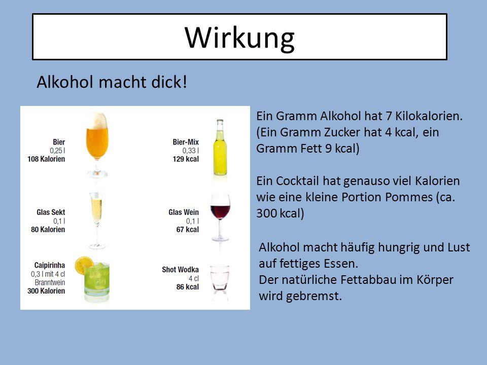 Wirkung Ein Gramm Alkohol hat 7 Kilokalorien. (Ein Gramm Zucker hat 4 kcal, ein Gramm Fett 9 kcal) Ein Cocktail hat genauso viel Kalorien wie eine kle