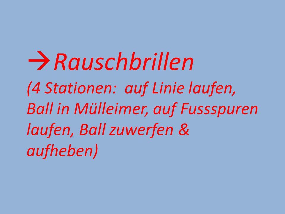  Rauschbrillen (4 Stationen: auf Linie laufen, Ball in Mülleimer, auf Fussspuren laufen, Ball zuwerfen & aufheben)