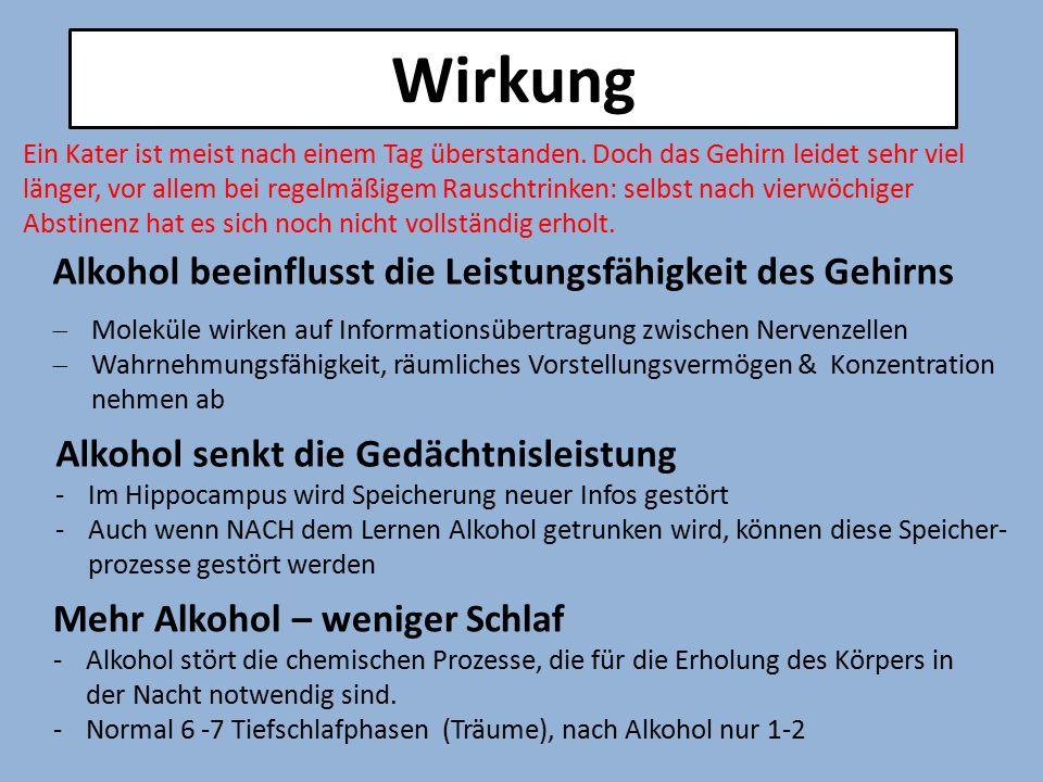 Wirkung Alkohol beeinflusst die Leistungsfähigkeit des Gehirns  Moleküle wirken auf Informationsübertragung zwischen Nervenzellen  Wahrnehmungsfähig