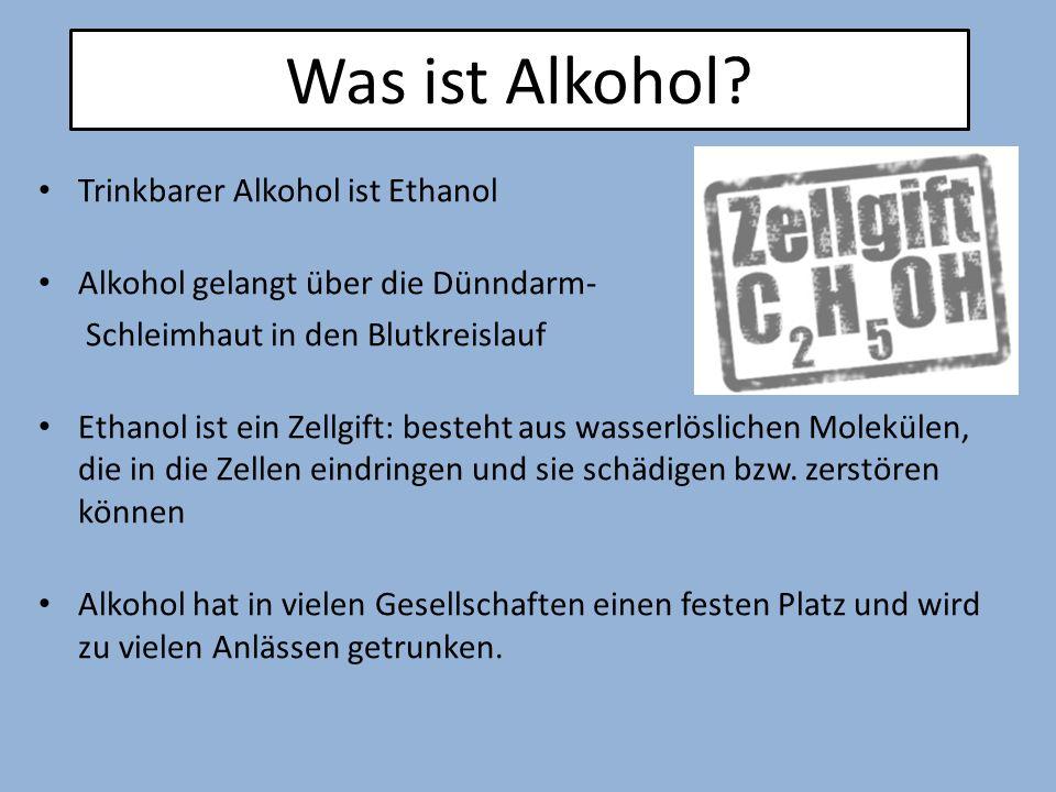 Trinkbarer Alkohol ist Ethanol Alkohol gelangt über die Dünndarm- Schleimhaut in den Blutkreislauf Ethanol ist ein Zellgift: besteht aus wasserlöslich
