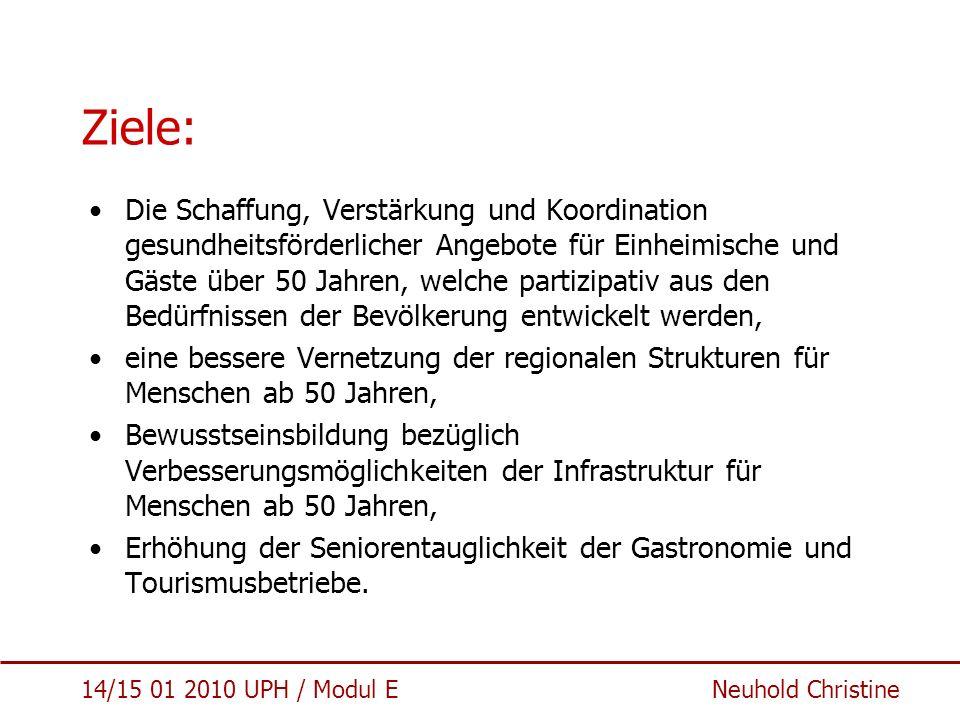 14/15 01 2010 UPH / Modul E Neuhold Christine Zielgruppen/AkteurInnen und Strukturen Zielpopulation: - BewohnerInnen der 5 Gemeinden ab 50 Jahren (N = ca.