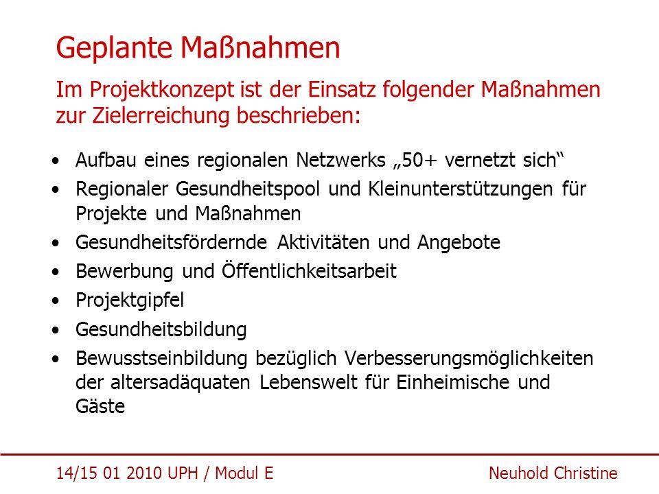14/15 01 2010 UPH / Modul E Neuhold Christine Geplante Maßnahmen Im Projektkonzept ist der Einsatz folgender Maßnahmen zur Zielerreichung beschrieben: