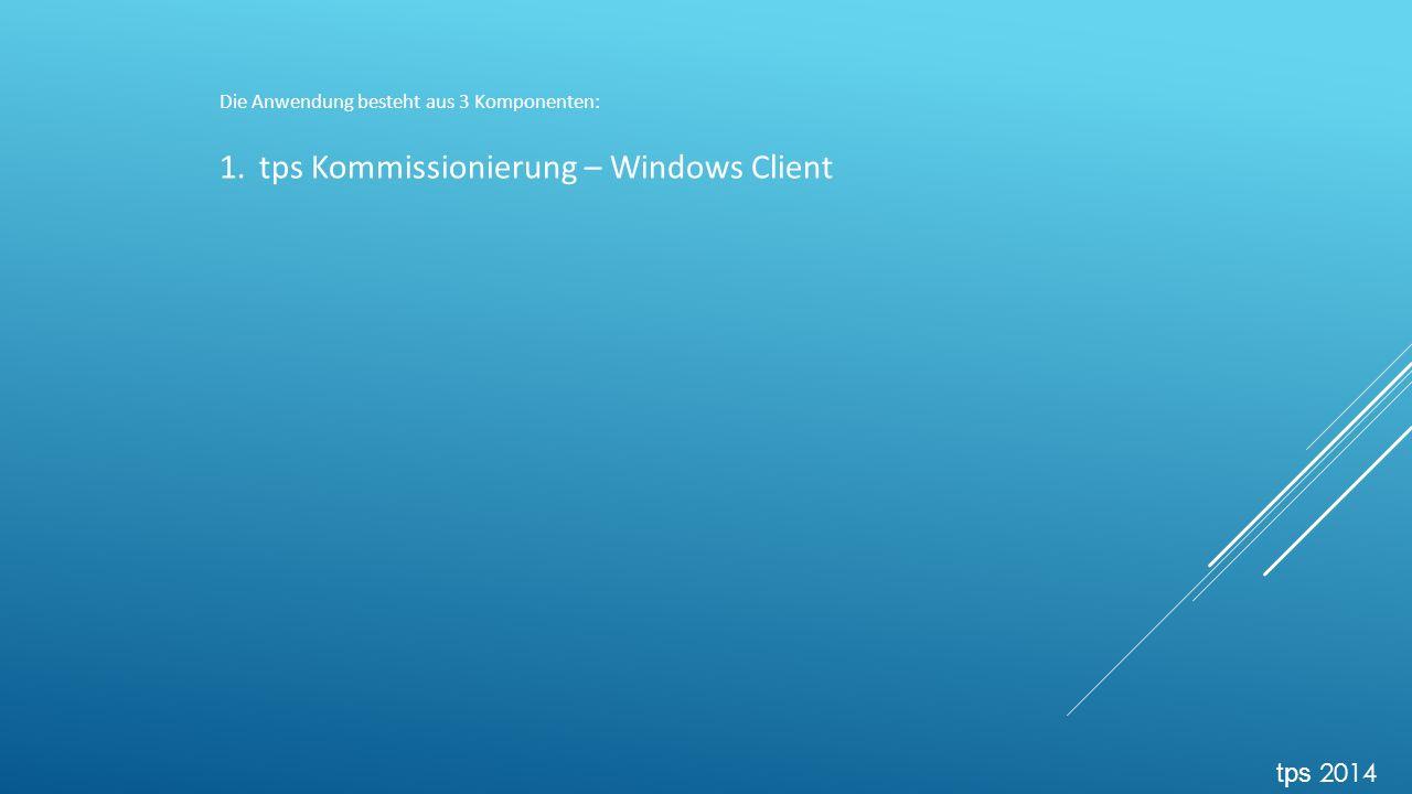 Die Anwendung besteht aus 3 Komponenten: 1.tps Kommissionierung – Windows Client tps 2014