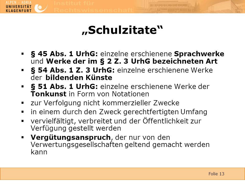 """Folie 13 """"Schulzitate  § 45 Abs. 1 UrhG: einzelne erschienene Sprachwerke und Werke der im § 2 Z."""