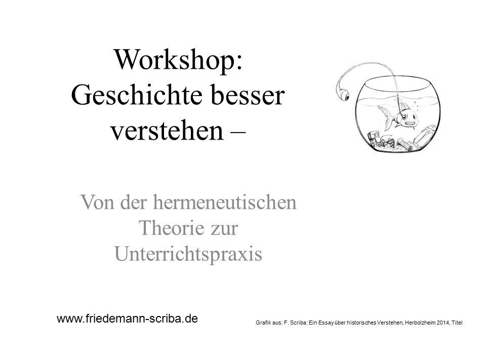 Workshop: Geschichte besser verstehen – Von der hermeneutischen Theorie zur Unterrichtspraxis www.friedemann-scriba.de Grafik aus: F. Scriba: Ein Essa