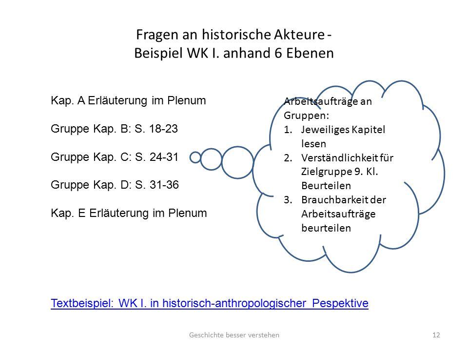 Fragen an historische Akteure - Beispiel WK I. anhand 6 Ebenen Geschichte besser verstehen12 Kap. A Erläuterung im Plenum Gruppe Kap. B: S. 18-23 Grup