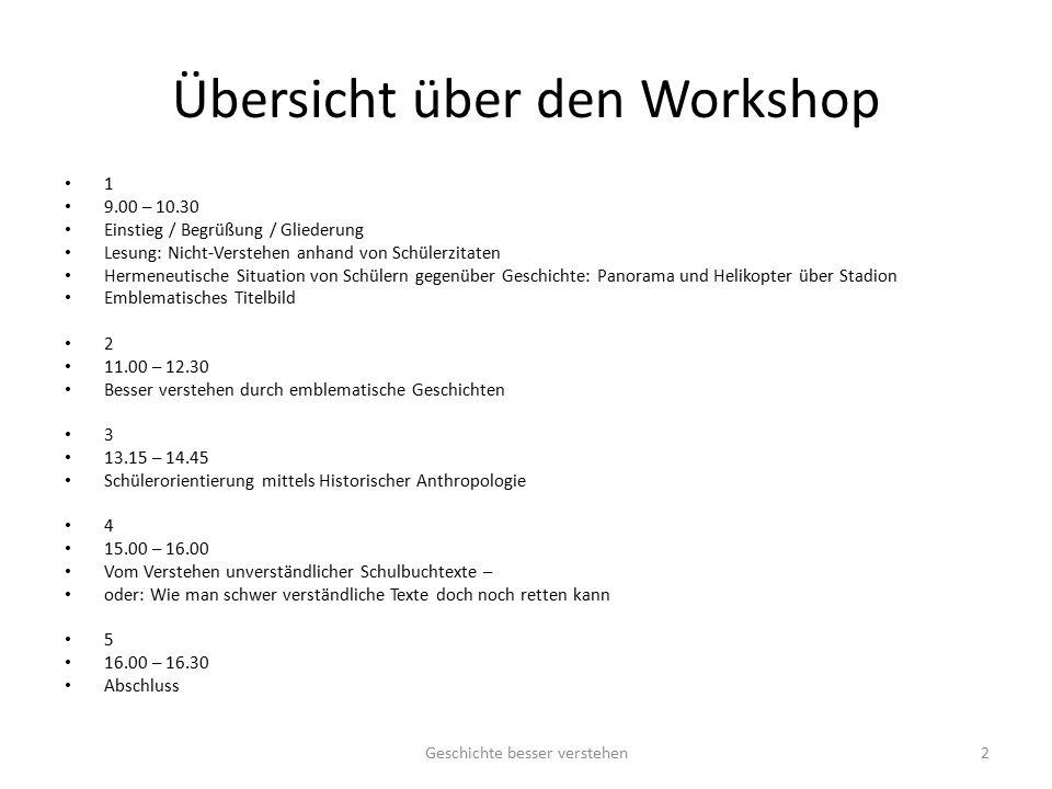 Übersicht über den Workshop 1 9.00 – 10.30 Einstieg / Begrüßung / Gliederung Lesung: Nicht-Verstehen anhand von Schülerzitaten Hermeneutische Situatio