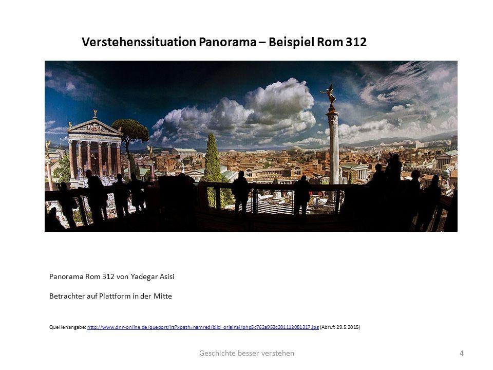Verstehenssituation Panorama – Beispiel Rom 312 Panorama Rom 312 von Yadegar Asisi Betrachter auf Plattform in der Mitte Quellenangabe: http://www.dnn