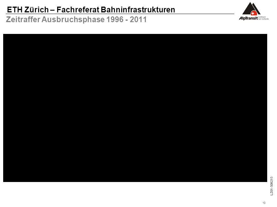 10 ETH Zürich – Fachreferat Bahninfrastrukturen LZ01-508215 Zeitraffer Ausbruchsphase 1996 - 2011