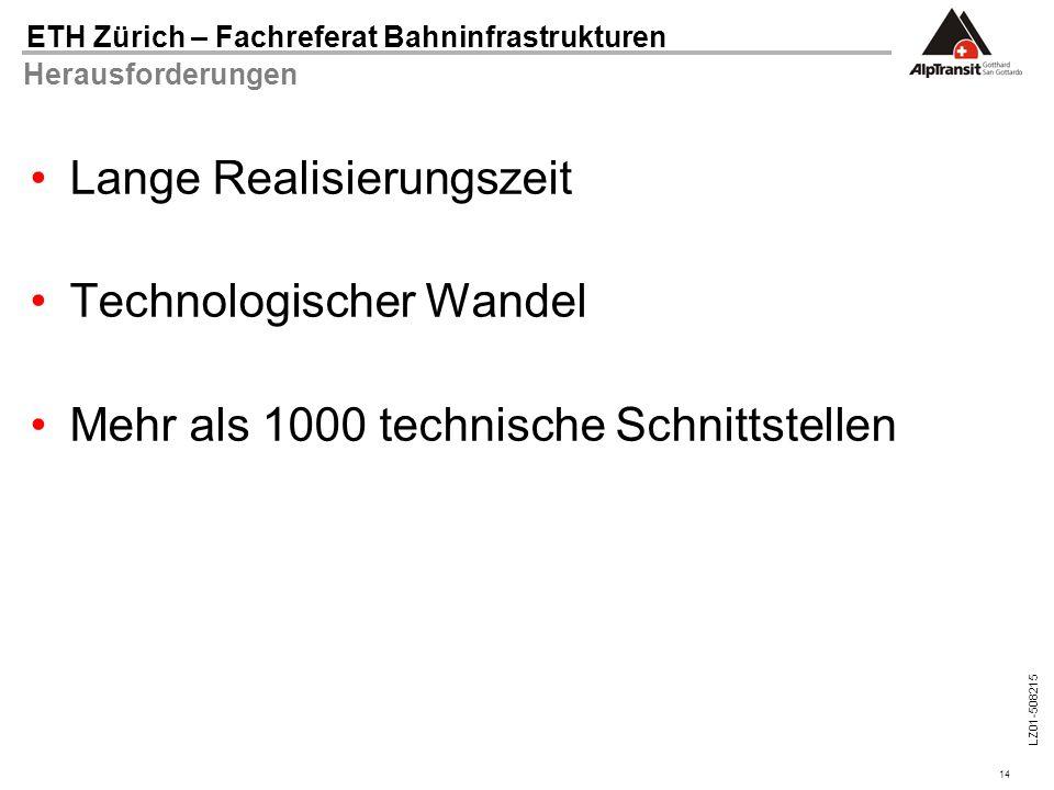 14 ETH Zürich – Fachreferat Bahninfrastrukturen LZ01-508215 Herausforderungen Lange Realisierungszeit Technologischer Wandel Mehr als 1000 technische