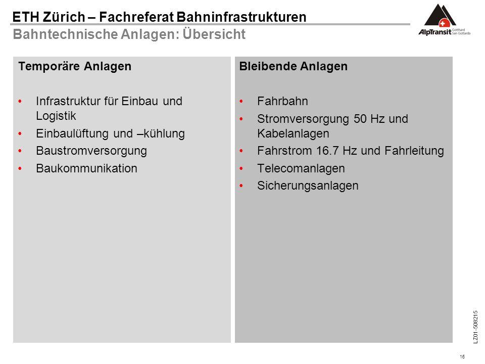 16 ETH Zürich – Fachreferat Bahninfrastrukturen LZ01-508215 Bahntechnische Anlagen: Übersicht Temporäre Anlagen Infrastruktur für Einbau und Logistik