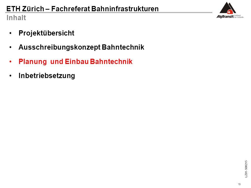 19 ETH Zürich – Fachreferat Bahninfrastrukturen LZ01-508215 Inhalt Projektübersicht Ausschreibungskonzept Bahntechnik Planung und Einbau Bahntechnik I
