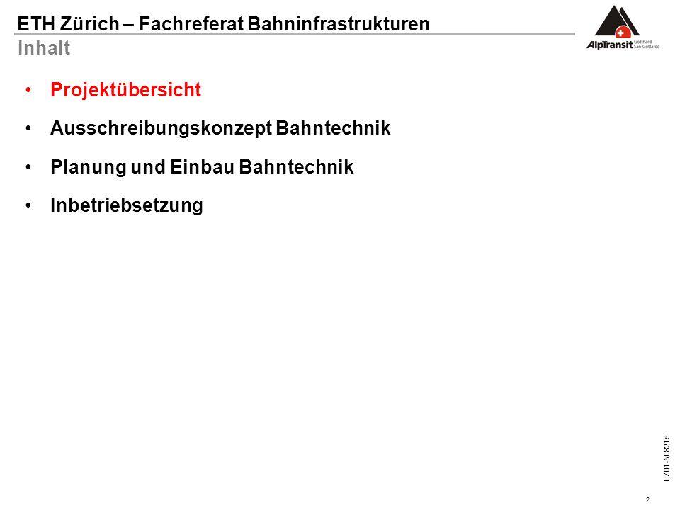2 ETH Zürich – Fachreferat Bahninfrastrukturen LZ01-508215 Inhalt Projektübersicht Ausschreibungskonzept Bahntechnik Planung und Einbau Bahntechnik In
