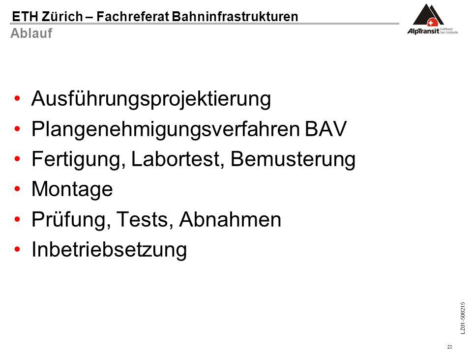 20 ETH Zürich – Fachreferat Bahninfrastrukturen LZ01-508215 Ablauf Ausführungsprojektierung Plangenehmigungsverfahren BAV Fertigung, Labortest, Bemust