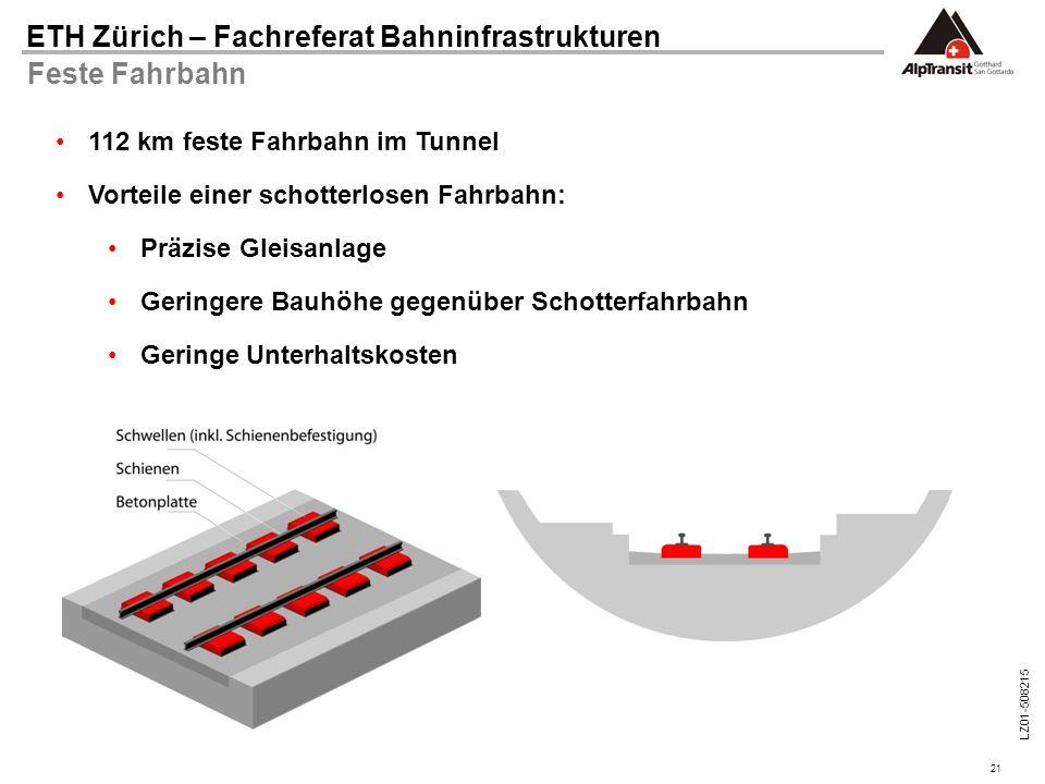 21 ETH Zürich – Fachreferat Bahninfrastrukturen LZ01-508215 Feste Fahrbahn 112 km feste Fahrbahn im Tunnel Vorteile einer schotterlosen Fahrbahn: Präz