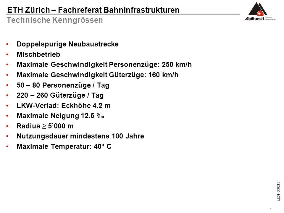 4 ETH Zürich – Fachreferat Bahninfrastrukturen LZ01-508215 Technische Kenngrössen Doppelspurige Neubaustrecke Mischbetrieb Maximale Geschwindigkeit Pe