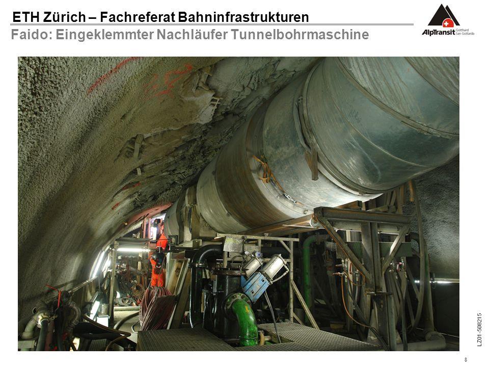 8 ETH Zürich – Fachreferat Bahninfrastrukturen LZ01-508215 Faido: Eingeklemmter Nachläufer Tunnelbohrmaschine
