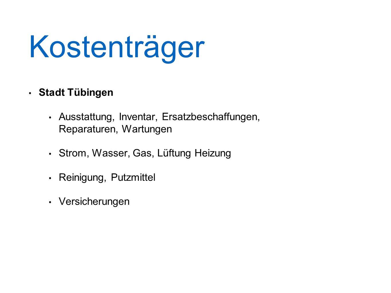 Kostenträger Stadt Tübingen Ausstattung, Inventar, Ersatzbeschaffungen, Reparaturen, Wartungen Strom, Wasser, Gas, Lüftung Heizung Reinigung, Putzmittel Versicherungen