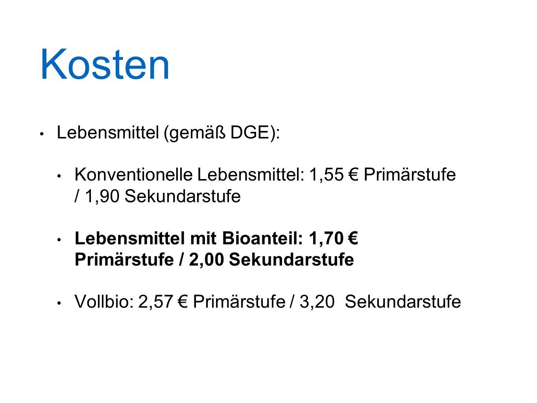 Kosten Lebensmittel (gemäß DGE): Konventionelle Lebensmittel: 1,55 € Primärstufe / 1,90 Sekundarstufe Lebensmittel mit Bioanteil: 1,70 € Primärstufe / 2,00 Sekundarstufe Vollbio: 2,57 € Primärstufe / 3,20 Sekundarstufe