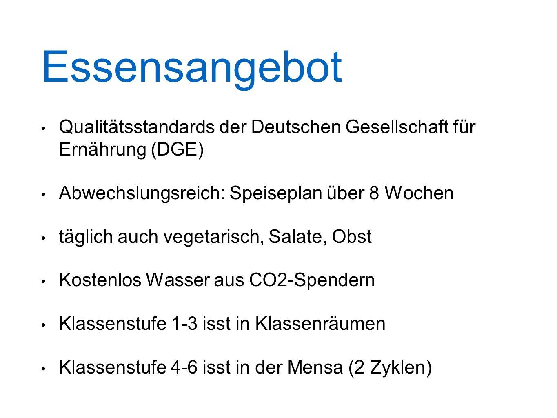 Essensangebot Qualitätsstandards der Deutschen Gesellschaft für Ernährung (DGE) Abwechslungsreich: Speiseplan über 8 Wochen täglich auch vegetarisch,