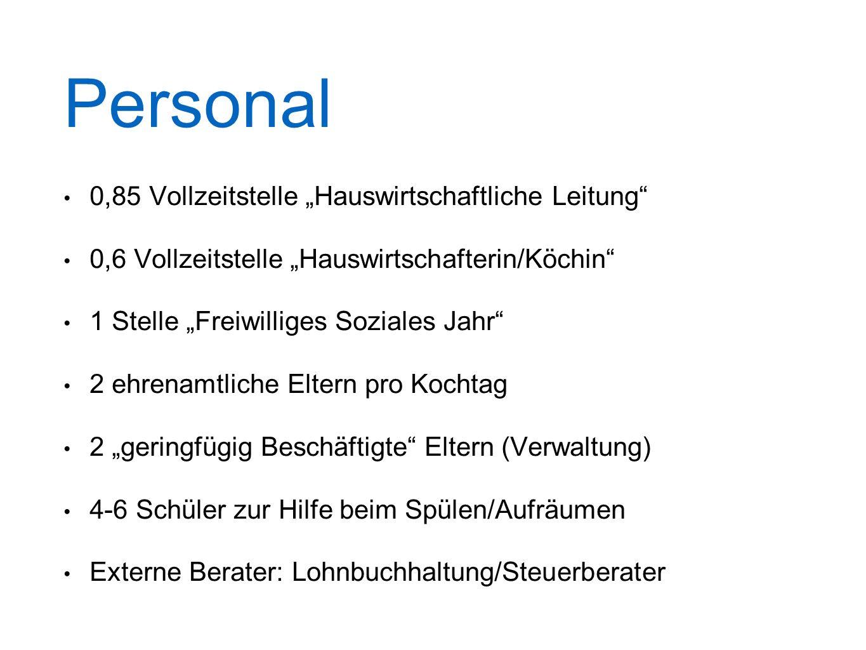 """Personal 0,85 Vollzeitstelle """"Hauswirtschaftliche Leitung"""" 0,6 Vollzeitstelle """"Hauswirtschafterin/Köchin"""" 1 Stelle """"Freiwilliges Soziales Jahr"""" 2 ehre"""
