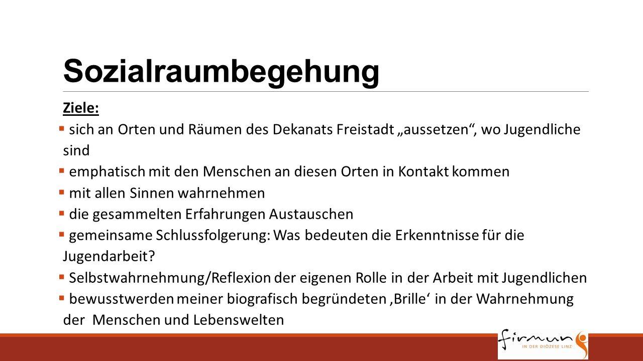 """Sozialraumbegehung Ziele:  sich an Orten und Räumen des Dekanats Freistadt """"aussetzen"""", wo Jugendliche sind  emphatisch mit den Menschen an diesen O"""
