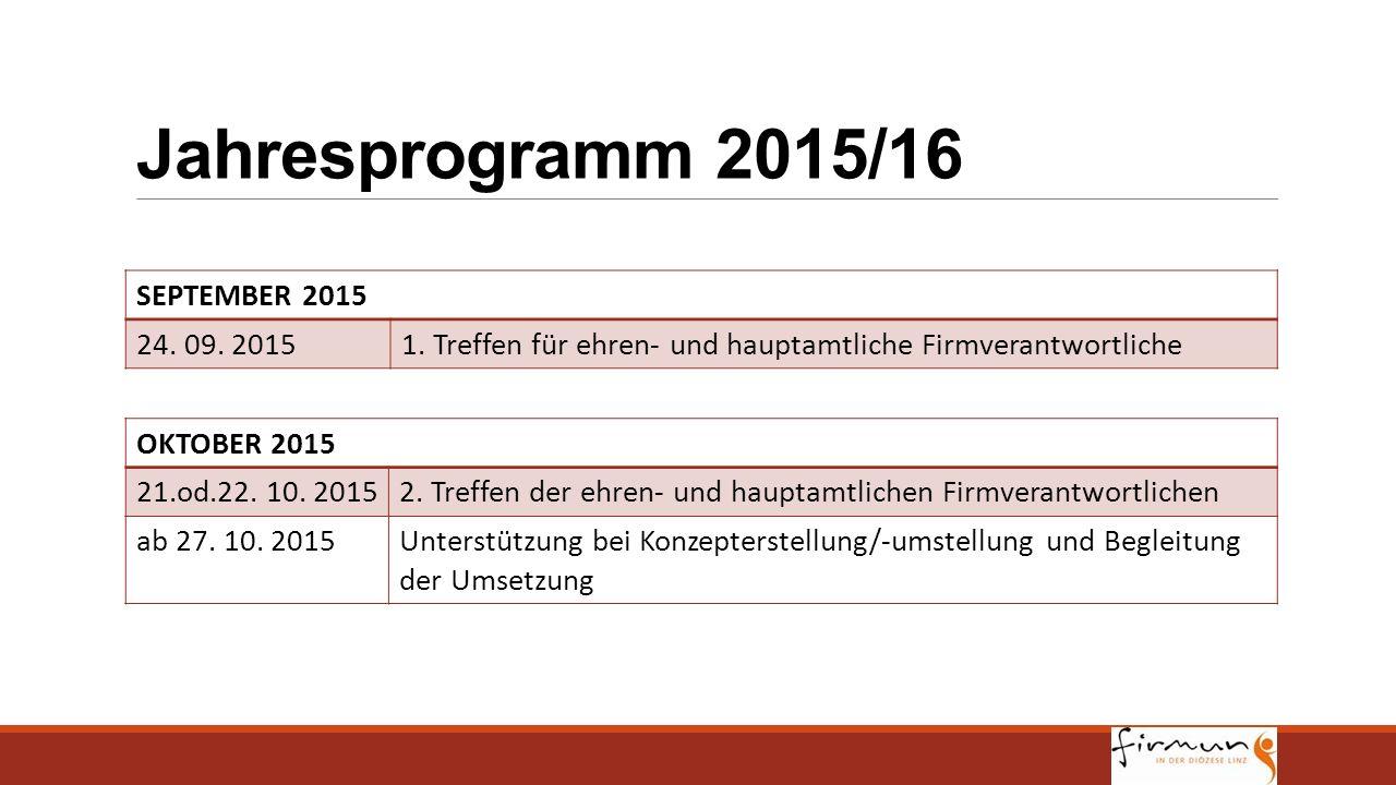 Jahresprogramm 2015/16 SEPTEMBER 2015 24. 09. 20151. Treffen für ehren- und hauptamtliche Firmverantwortliche OKTOBER 2015 21.od.22. 10. 20152. Treffe