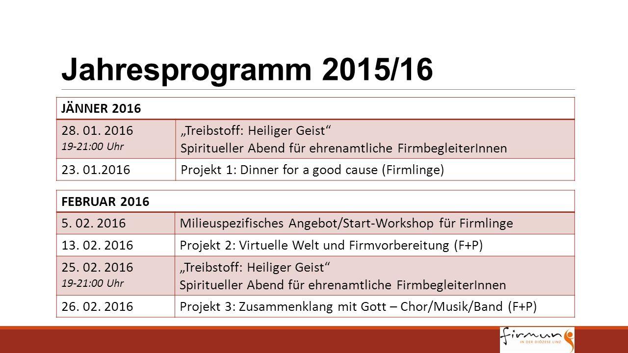 """Jahresprogramm 2015/16 JÄNNER 2016 28. 01. 2016 19-21:00 Uhr """"Treibstoff: Heiliger Geist"""" Spiritueller Abend für ehrenamtliche FirmbegleiterInnen 23."""