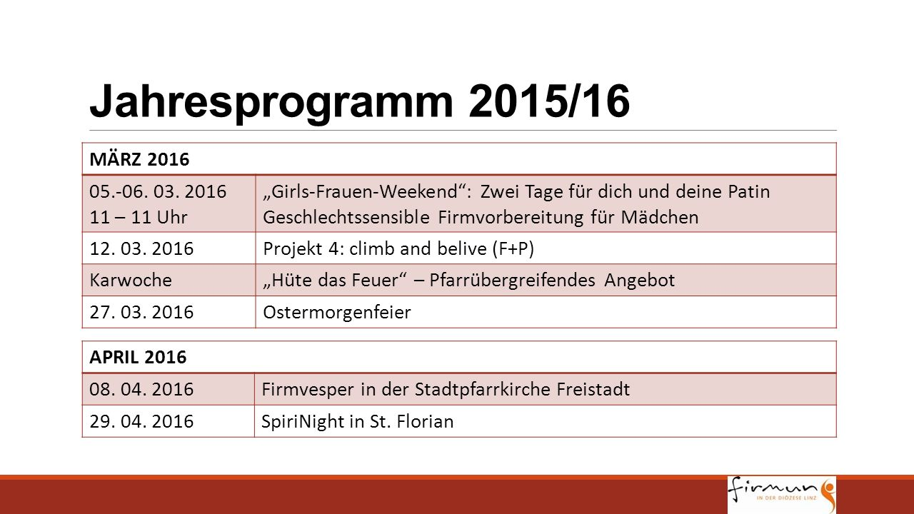 """Jahresprogramm 2015/16 MÄRZ 2016 05.-06. 03. 2016 11 – 11 Uhr """"Girls-Frauen-Weekend"""": Zwei Tage für dich und deine Patin Geschlechtssensible Firmvorbe"""