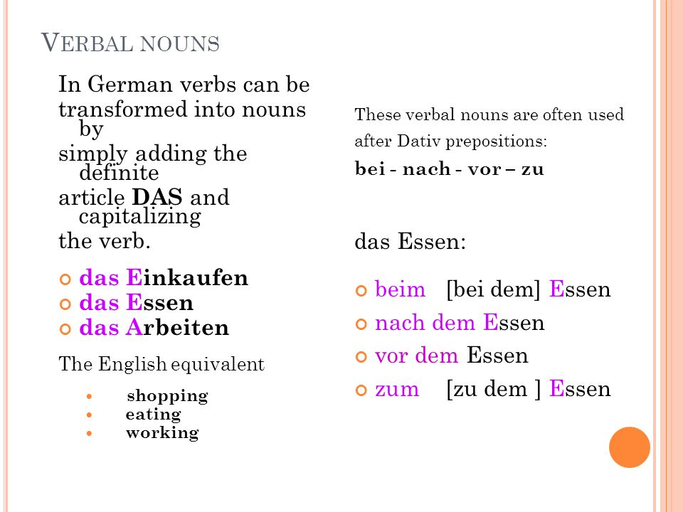 V ERBAL NOUNS In German verbs can be transformed into nouns by simply adding the definite article DAS and capitalizing the verb. das Einkaufen das Ess