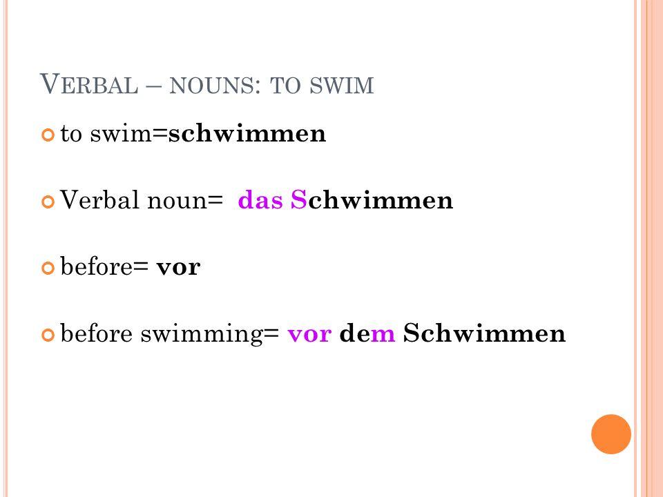 V ERBAL – NOUNS : TO SWIM to swim= schwimmen Verbal noun= das Schwimmen before= vor before swimming= vor dem Schwimmen