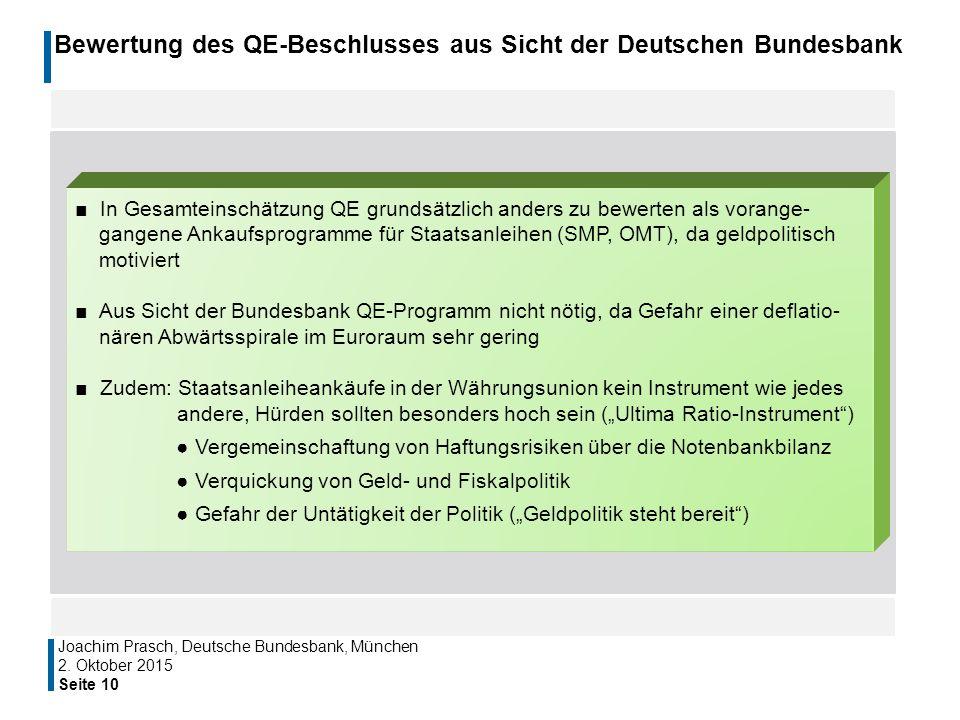 Bewertung des QE-Beschlusses aus Sicht der Deutschen Bundesbank Seite 10 Joachim Prasch, Deutsche Bundesbank, München ■ In Gesamteinschätzung QE grund