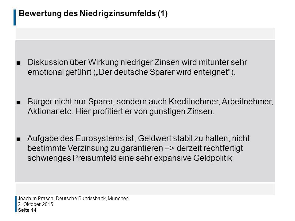"""Bewertung des Niedrigzinsumfelds (1) ■Diskussion über Wirkung niedriger Zinsen wird mitunter sehr emotional geführt (""""Der deutsche Sparer wird enteign"""